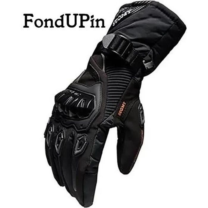 Gants de moto unisexe d'hiver imperméables à écran tactile gants de vélo anti-chute épaissie longue hors route