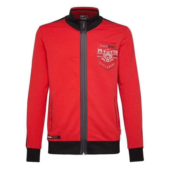 PLEIN SPORT Jogging Jacket - Red - For Men - édition -Big Heart- - Référence : MJB0493SJO001N13