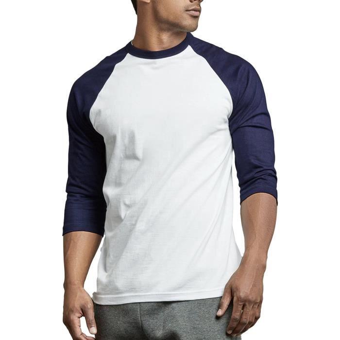 Sweatshirt RORM0 Casual manches 3/4 coton uni Base-ball T-shirts Taille-L