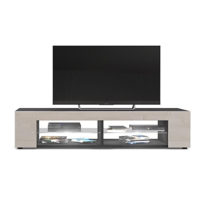 Meuble Tv Noir mat Façades en Gris Sable laquées led Blanc