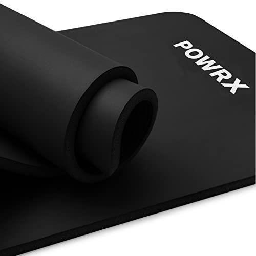 POWRX Tapis de gymnastique premium avec sangle de transport et sac et poster d'exercices I Tapis de sport sans phtalaI Couleur: Noir