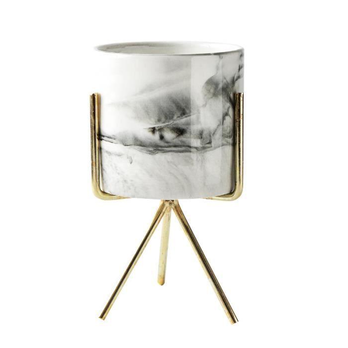 Vase en Marbre de Style Minimaliste Nordique Domestique Fer Forgé Dessus de la Table Pot de Fleurs Succulente Or + Céramique blanc S