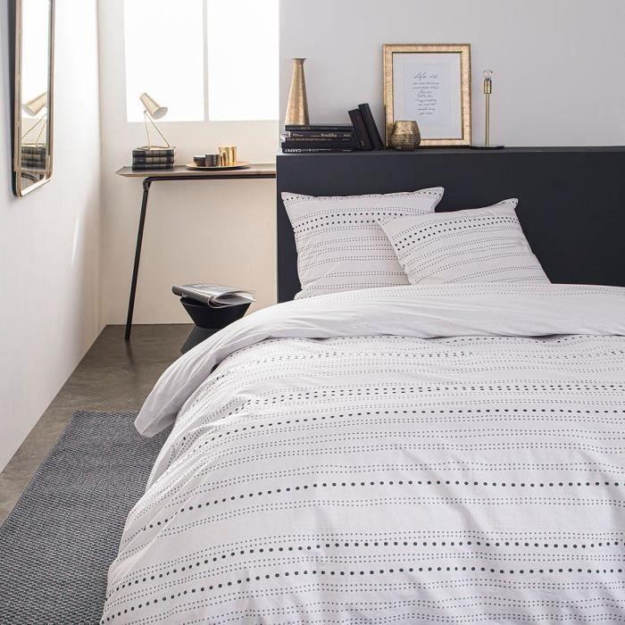 TODAY Parure de lit SUNSHINE 5.44 - 2 personnes - 240 x 260 cm coton - Imprimé Blanc Graphique TODAY