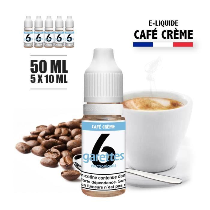 E-liquide 50ML saveur CAFE CREME avec 6MG de nicotine (e-liquide id : PROD1189) - (5x10ML)