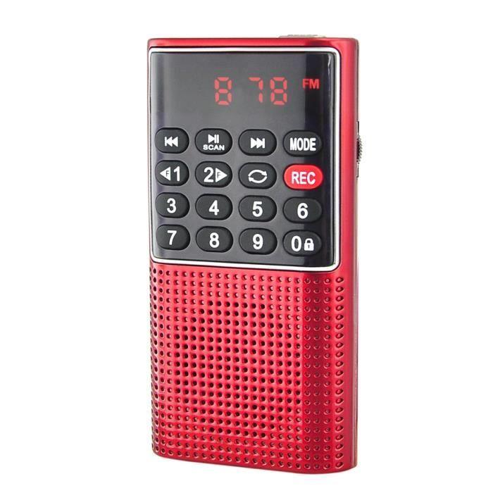 RADIO DE POCHE rechargeable FM, lecteur de carte micro SD RMS 3W, prise casque - Rouge