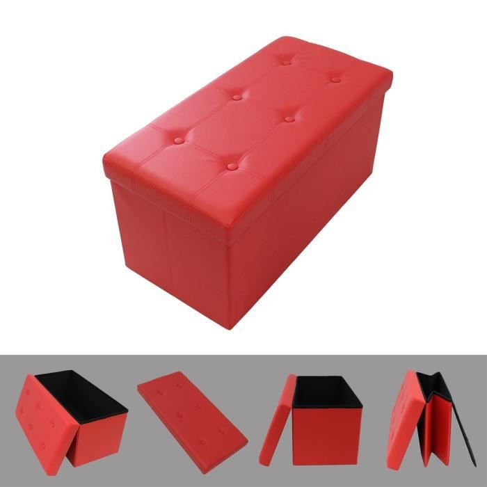 pouf coffre de rangement pliable rouge 76x38x38cm tabouret simili cuir l gant achat vente. Black Bedroom Furniture Sets. Home Design Ideas
