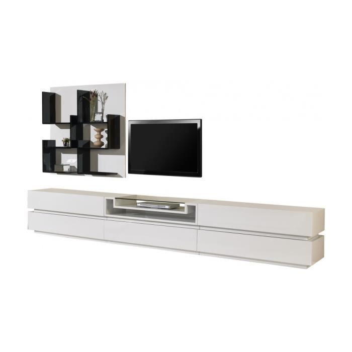 Composition design meuble tv laque blanc brillant 5 for Meuble blanc laque brillant