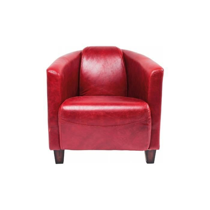 Fauteuil Cuir Cigar Lounge rouge Kare Design Achat Vente