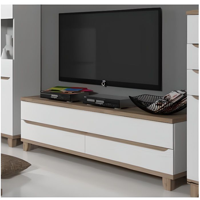 meuble tv scandinave lier blanc et bois achat vente meuble tv meuble tv scandinave lier b. Black Bedroom Furniture Sets. Home Design Ideas