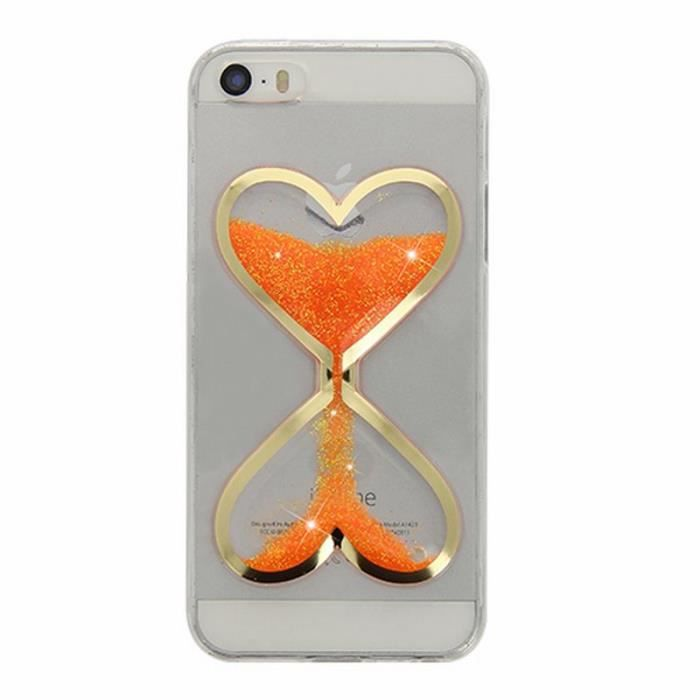 Coque Sablier Coeur iPhone 5/SE/5S U Orange