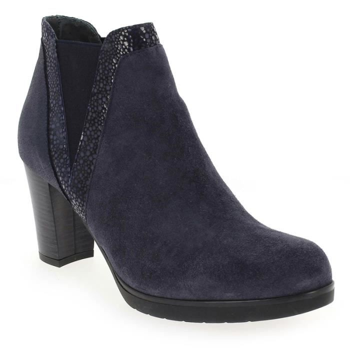 BOTTINES CASEY MIX PEAU MARINE