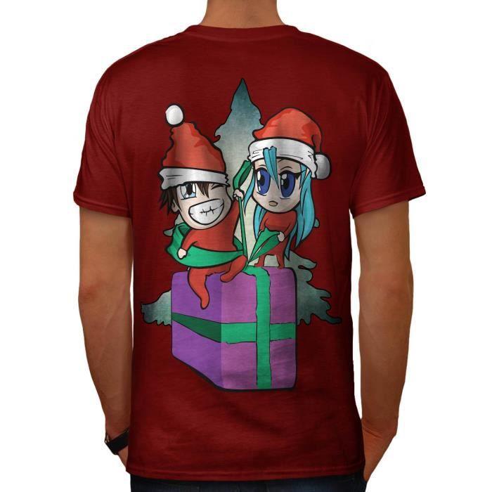 Homme Nouveauté Noël T Shirt Moustache Arbre de Noel