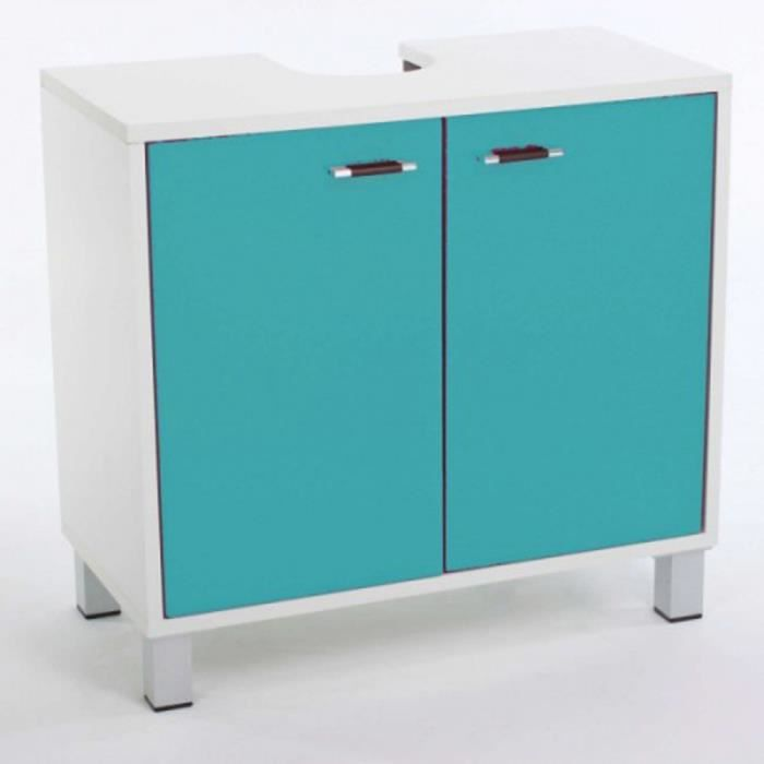 meuble dessous lavabo dinamo en mdf coloris turquoise et. Black Bedroom Furniture Sets. Home Design Ideas