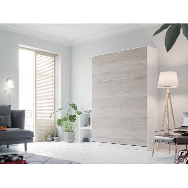 LIT ESCAMOTABLE SMARTBett Standard 140x200 vertical blanc/chêne So