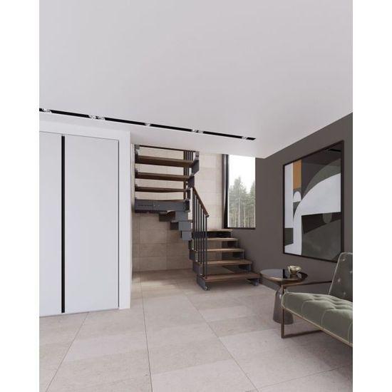 Escalier Double Quart Tournant 11 Marches En Bois Massif Noyer Structure En Métal Composity Misterstep