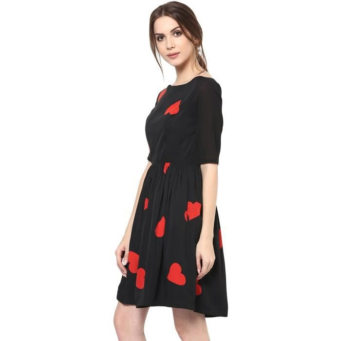 Womens Heart Print A-line Dress UTRF4 Taille-40