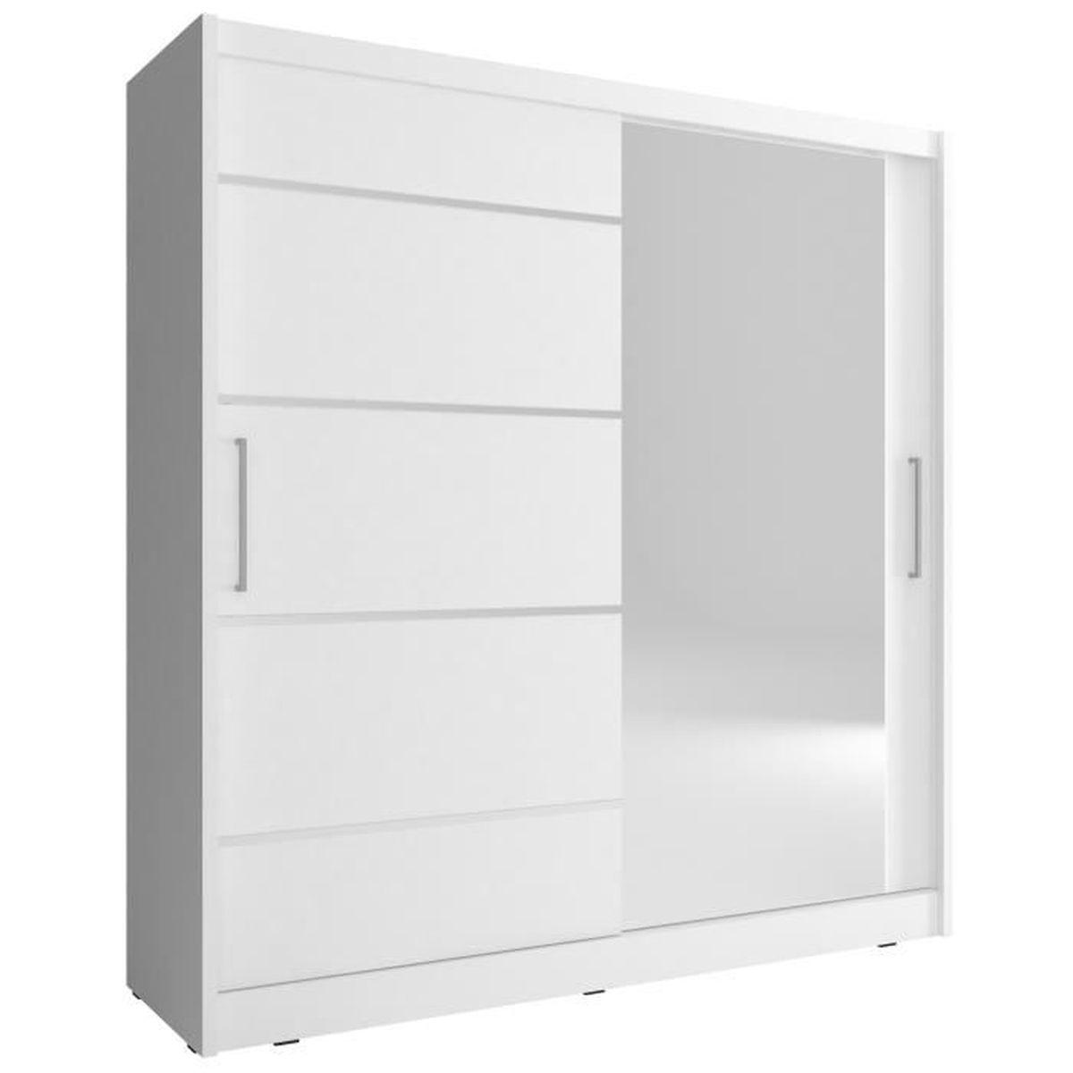 Armoire De Chambre Avec Penderie armoire de chambre avec miroir 2 portes coulissantes - style