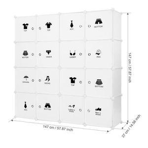 ARMOIRE DE CHAMBRE lot de 2 Armoire avec Penderie Modulable 16 Cubes