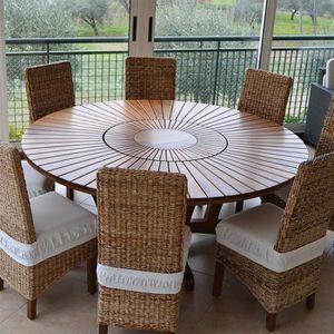 TABLE À MANGER SEULE Table ronde en bois foncé contemporaine ANASTASIA