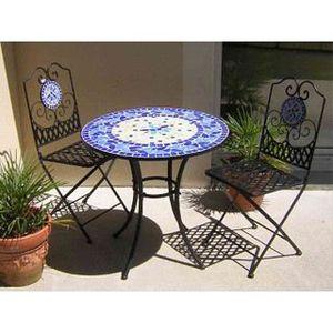 Table de jardin fer forgé et mosaïque bleue Ø76… - Achat ...