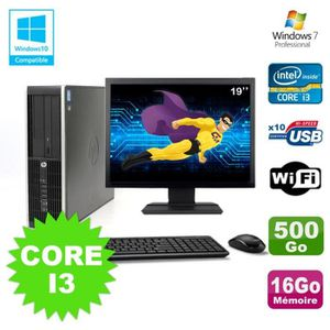 UNITÉ CENTRALE + ÉCRAN Lot PC HP Elite 8200 SFF Core I3 3.1GHz 16Go 500Go