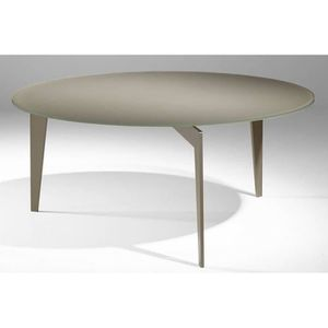 TABLE BASSE Table basse ronde MIKY en verre taupe