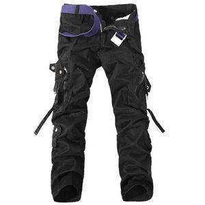 OCHENTA Homme Adultes Combat Pantalons Treillis Militaire Cargo Armee Pantalon de Travail Multi Poches Coton sans Ceinture