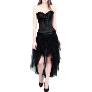 BUSTIER - CORSET Robe corset satin noir élégante jupe en tulle et b