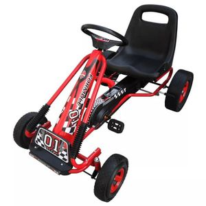 PORTEUR - POUSSEUR Kart à pédales rouge siège ajustable