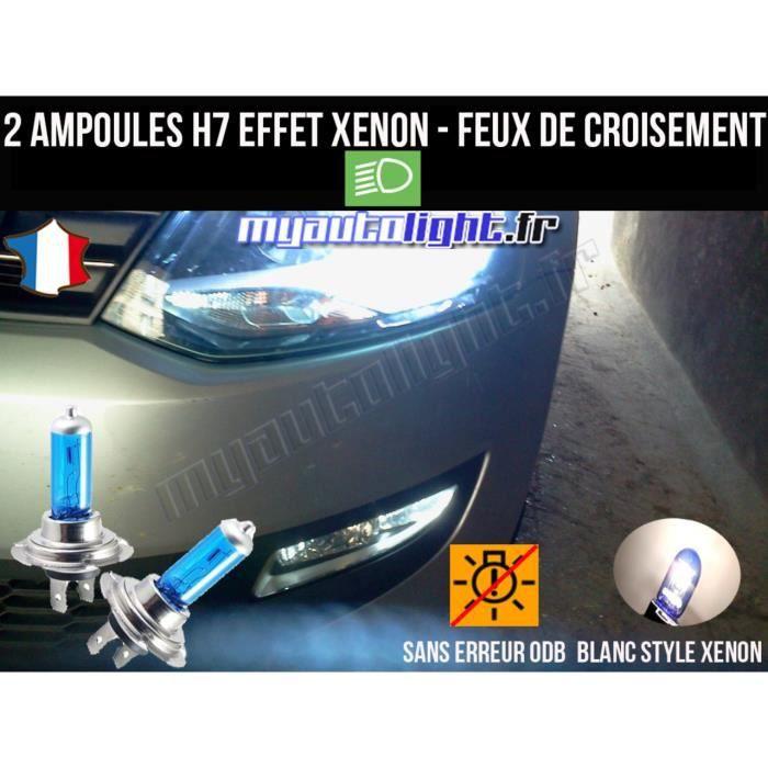 Pack ampoules H7 blanc xenon feux croisement-code pour Volkswagen Polo 6R