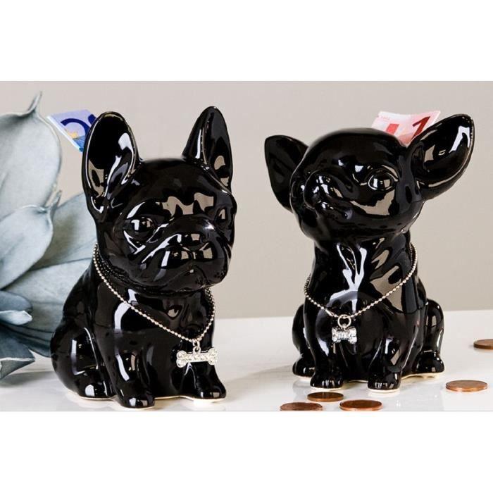 Décoration, tirelire chien Bouledogue Français Comics noir en céramique, 13 cm