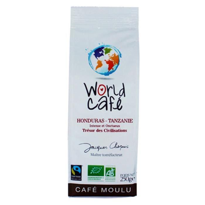 Café moulu BIO Honduras - Tanzanie - World Café Jacques Chapuis - paquet 250g