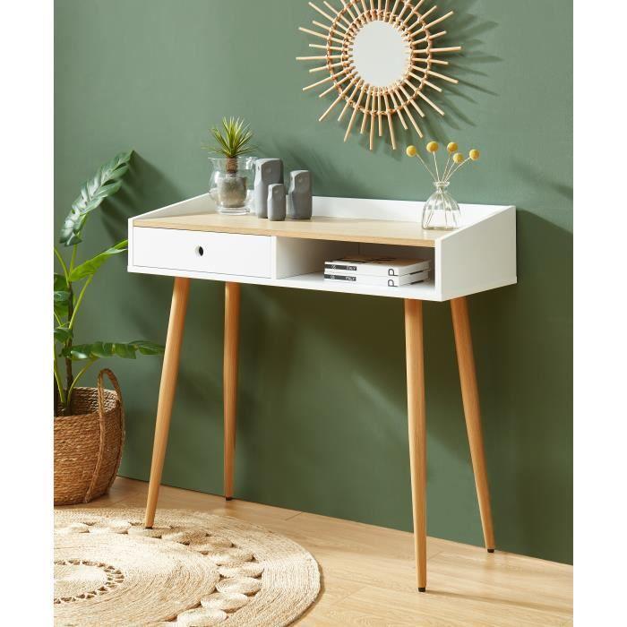 CALDERA Console, laqué blanc mat et plateau coloris bois