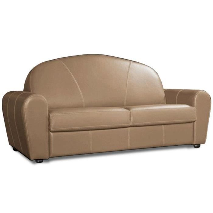 Canapé lit CLUB DELUXE convertible RAPIDO 120 cm cuir taupe clair matelas 16 cm taupe cuir Inside75