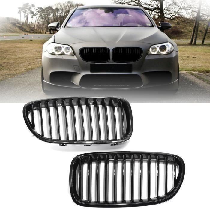 2x Noir Brillant Avant Grilles De Grill Pour BMW F18 F10 F11 5 Série 10-16 Bo47544