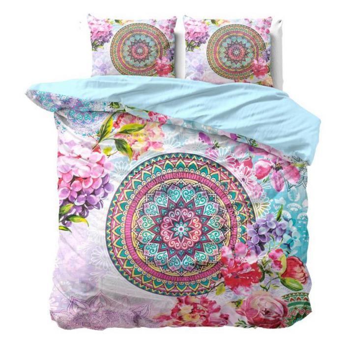 NANDO Housse de Couette 200x220+2 Taies Oreiller 60x70-100% Coton Parure de Lit Set 3pcs Mandala Oriental Fleurs Bleu Turquoise Rose