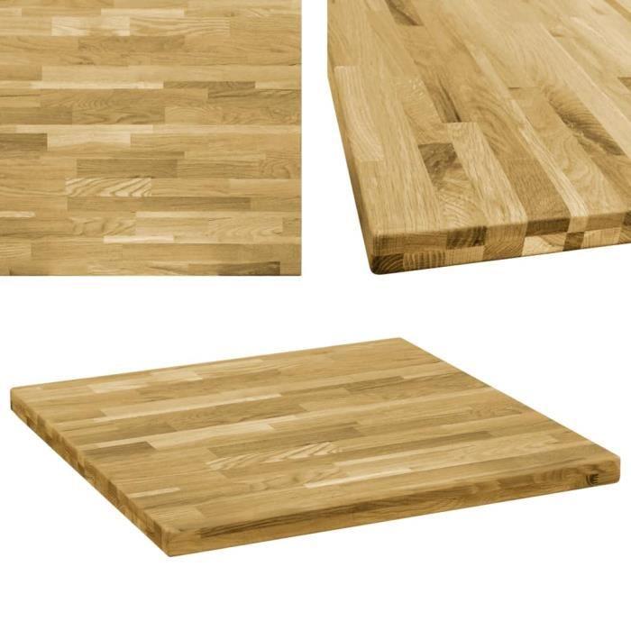 Dessus de table Bois de chêne massif Carré 44 mm 70x70 cm -VQU