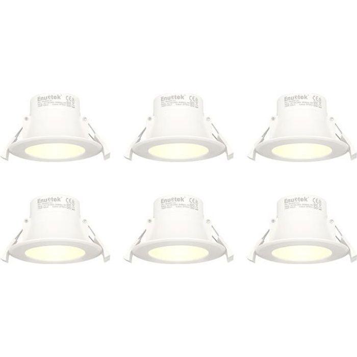 Lampes Plafonnier LED Spot Encastrable a LED 8W Blanc Chaud 3000K Diamètre Trou 70-85MM 220V IP44 pour Salle de Bain Cuisine Lot 6