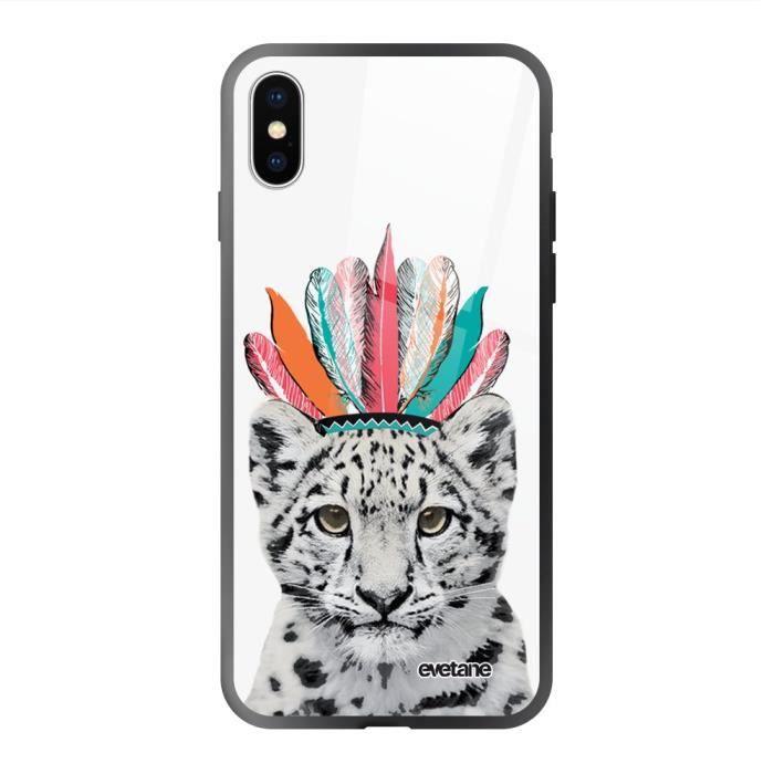 Coque en verre trempé iPhone Xs Max noir Léopard Indien Ecriture Tendance et Design Evetane
