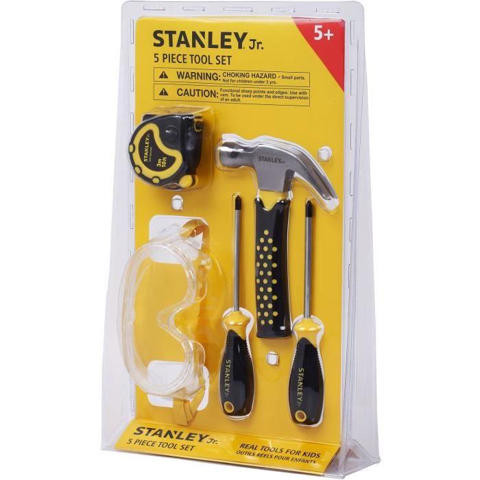 Stanley Jr - Set bricolage 1 (5 pièces) - Jeu d'imitation - Initiation au bricolage - Outils réel pour enfant