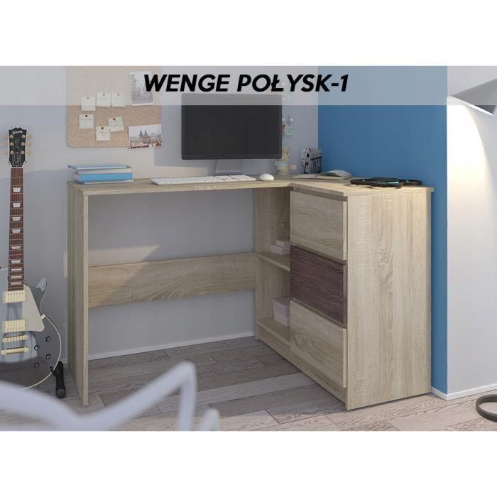 REX S - Bureau d'angle avec rangements + 3 tiroirs - Dimensions 112x87x76 cm - Table d'ordinateur - Sonoma Wengé