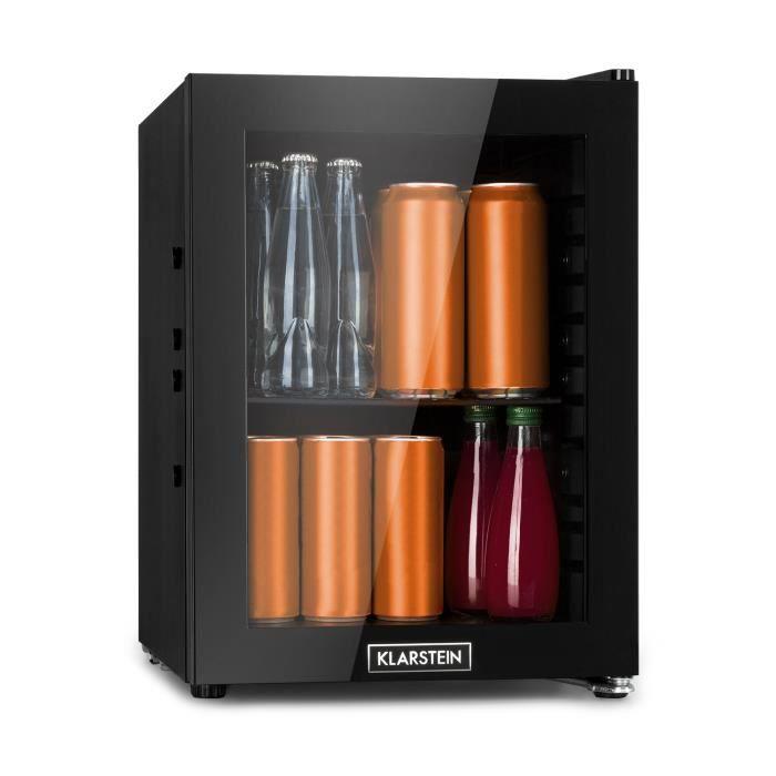 Klarstein MilkySafe Mini réfrigérateur à boissons 23 litres - 39dB - Clayette en métal - Classe A+ - Porte vitrée - Noir