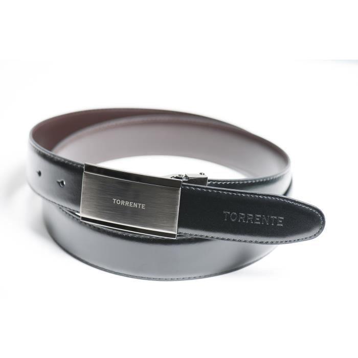 Torrente - Ceinture Reversible Noir/Marron - Cuir - Taille Ajustable - Boucle détachable - Ceinture homme Couture 13