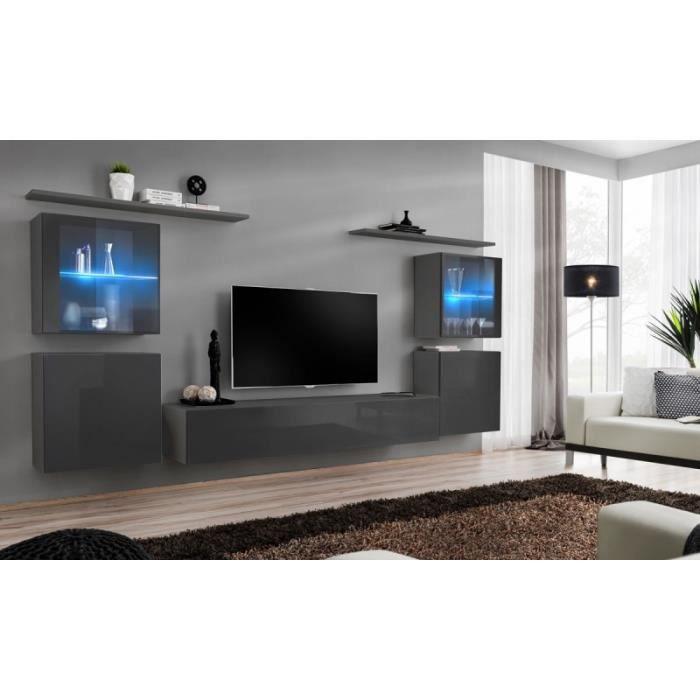 Meuble Tv Mural Design -switch Xiv- 320cm Gris - Paris Prix