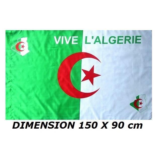 DRAPEAU 150 X 90 cm ALGERIE ALGERIEN - No Fanion Maillot écharpe Casquette ...