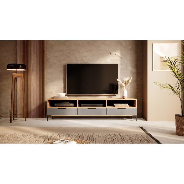Meuble tv - RIKKE - 160 cm - chêne wotan / gris brillant - sans LED