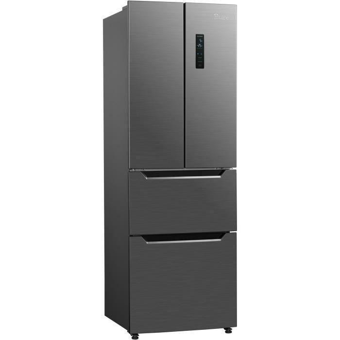 TRIOMPH THFD298NFIX - Réfrigérateur multi-portes - 298L (183+115) - Froid ventilé - Classe A++ - L 59.5cm x H 183 cm - Inox Look