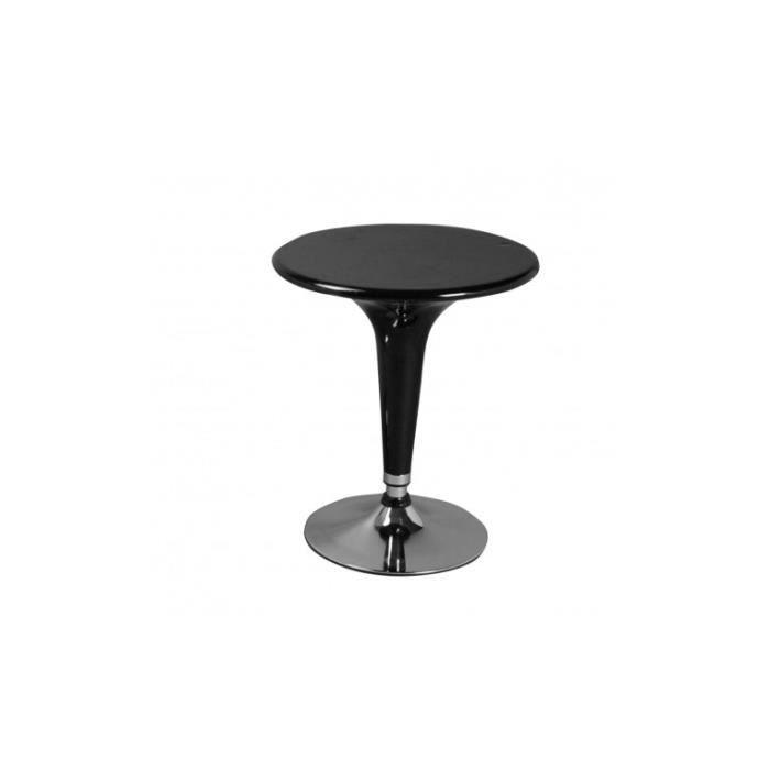 Table de bar ronde laquée noire DUO