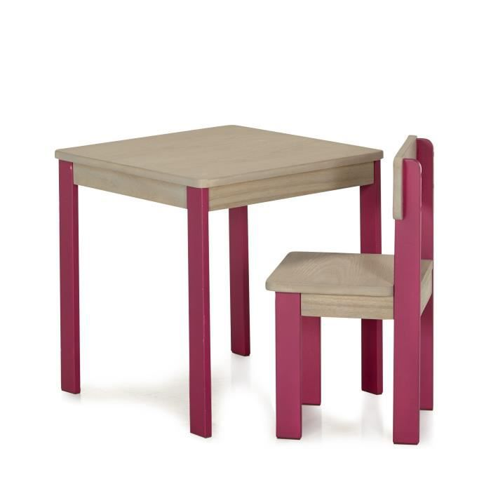 acaya table et chaise roses fuschia pour enfant en acacia rose achat vente salon de jardin. Black Bedroom Furniture Sets. Home Design Ideas