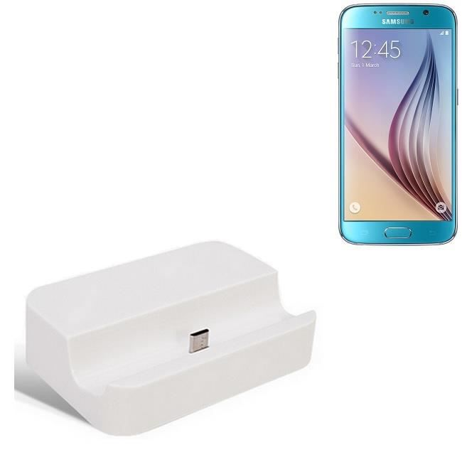 micro station d 39 39 accueil usb adapt pour le samsung galaxy s6 blanc station de charge y. Black Bedroom Furniture Sets. Home Design Ideas